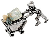 Colorado Aquamarine And Pewter Miner Cart Figure