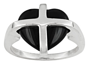 English Whitby Jet 13x11mm Cross Heart Sterling Silver Ring Comes With Whamond Box