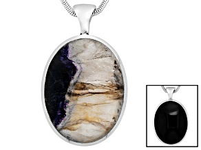 Blue John Fluorite And Whitby Jet 37x29mm Oval Cabochon Sterling Double Sided Pendant With Chain