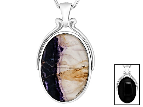 Blue John Fluorite And Whitby Jet Oval Scroll Top Swivel Sterling Double Sided Pendant With Chain