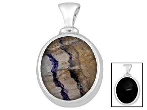 Blue John Fluorite And Whitby Jet 19x15mm Dinky Oval Cabochon Sterling Double Sided Pendant