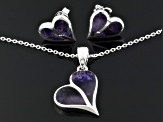 Bluejohn Fluorite Doublet Split Heart Sterling Silver Earrings And Pendant With Chain Set
