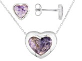 Bluejohn Fluorite Doublet Framed Heart Sterling Silver Earrings And Pendant With Chain Set