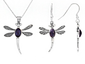 Bluejohn Fluorite Doublet Dragonfly Sterling Silver Earrings And Pendant With Chain Set