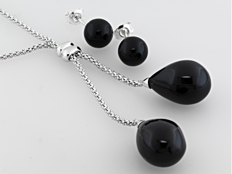 Whitby Jet Round And Free Form Earrings Bobble Chain Necklace