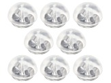 8 Piece Set Of Rhodium Over Sterling Silver Silicone Bubble Earring Backs