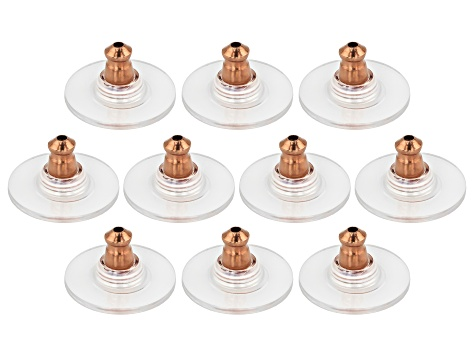 10 Piece Set Of 14K Rose Gold Over Sterling Silver Bullet Clutch Earring Backs W/ Pad