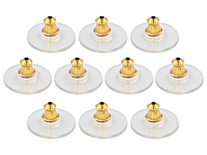 10 Piece Set Of 14K Yellow Gold Over Sterling Silver Bullet Clutch Earring Backs W/ Pad