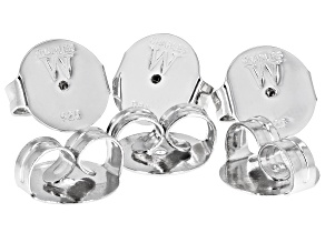 6 Piece Set Of Rhodium Over Sterling Silver Jumbo Friction Backs