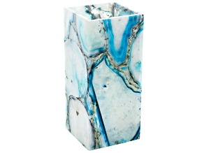 Aqua Blue Agate Vase Measures Appx 9x4in
