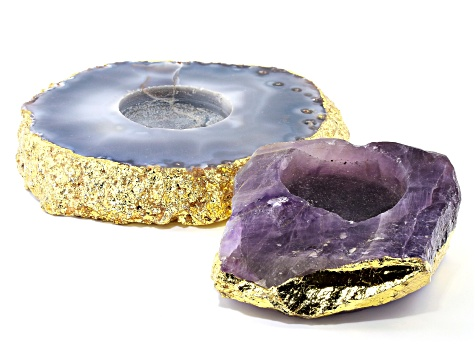 Agate & Amethyst Tealight Holder with Gold Tone Accent Set of 2