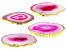 Pink Agate Coaster Set of 4 with Gold Tone Accent