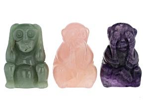 Three Wise Monkeys Figurine Set In Purple Fluorite, Rose Quartz And Green Quartzite