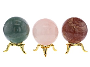 Gemstone Spheres Appx 40mm Each with Gold Tone Stand in Rose Quartz, Green Quartzite and Travertine