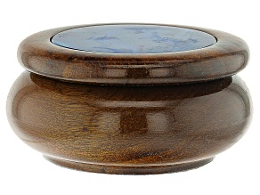 Wooden Trinket Box with Blue Agate Inlay Lid Appx 60mm Round. Box Measures appx 88x45mm.