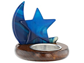 Wooden Round Tealight Holder with Blue Agate Moon and Star
