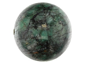 Bahia Brazilian Emerald in Matrix Focal appx 22mm Sphere appx 75-77 CTW Large Hole Drilled