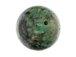Bahia Brazilian Emerald in Matrix Focal appx 18mm Sphere appx 40-42 CTW Large Hole Drilled