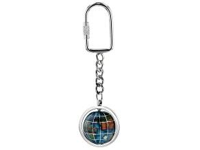 Gemstone Globe Keychain with Marine Blue Color Opalite Ocean and Silver Tone Keychain