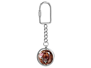Gemstone Globe Keychain with Copper Amber Color Opalite Ocean and Silver Tone Keychain