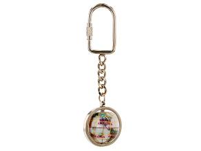 Gemstone Globe Keychain with Opal Color Opalite Globe and Gold Tone Keychain