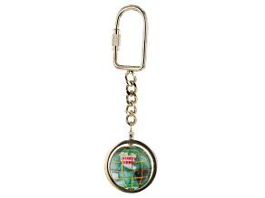 Gemstone Globe Keychain with Peridot Green Color Opalite Globe and Gold Tone Keychain