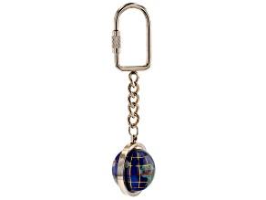 Gemstone Globe Keychain with Caribbean Blue Color Opalite Globe and Gold Tone Keychain
