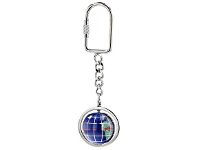 Gemstone Globe Keychain with Caribbean Blue Color Opalite Globe and Silver Tone Keychain