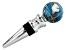 Gemstone Globe with Marine Blue Color Opalite Ocean Wine Bottle Stopper in Silver Tone