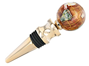 Gemstone Globe with Copper Amber Color Opalite Ocean Wine Bottle Stopper in Gold Tone