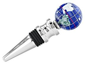 Gemstone Globe with Caribbean Blue Color Opalite Ocean Wine Bottle Stopper in Silver Tone