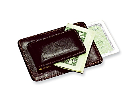 brown leather money clip and card holder - Money Clip And Card Holder