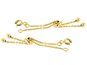 Sliding Adjustable Bracelet Clasps in 18K Gold Over Sterling Silver Cable Chain 2 Piece Set
