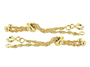 Sliding Adjustable Bracelet Clasps in 18K Gold Over Sterling Silver Rope Chain 2 Piece Set