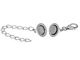 Magnetic Clasp Converter Rhodium Over Sterling Silver Large 6mm With 2 inch Extension Chain
