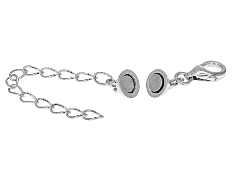 Magnetic Clasp Converter in Rhodium Over Sterling Silver With 2 inch Extension Chain
