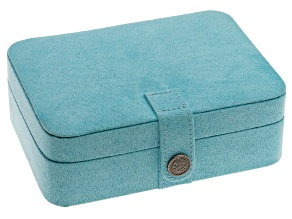 Jewelry Box Giana Plush Fabric Aqua