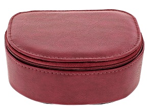 Red Faux Leather Travel Jewelry Case