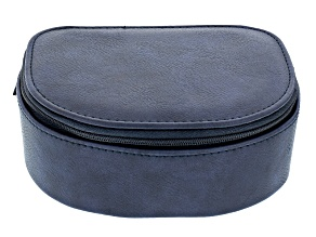 Blue Faux Leather Travel Jewelry Case