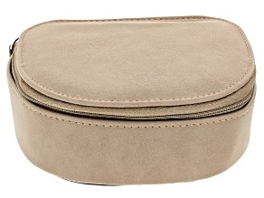Tan Faux Leather Travel Jewelry Case