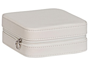 Travel Jewelry Box Dana in Faux Leather in Ivory