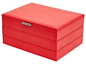 Jewelry Box Allie in Red Faux Leather