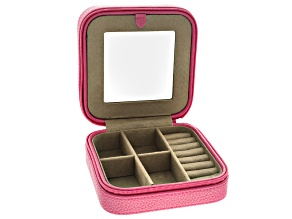 Travel Jewelry Box Dana in Pink Faux Leather