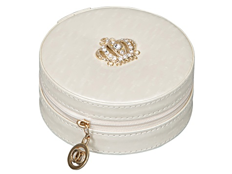 Travel Jewelry Case Elle in Cream Faux Leather