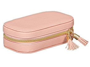 Travel Jewelry Case Lucy in Pink Faux Leather
