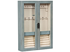 Wall-Mount Jewelry Cabinet Leia in Oceanside Grey