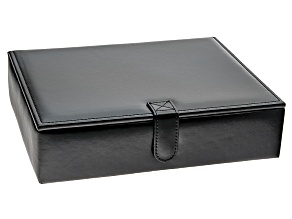 Jewelry Box Carson Faux Black Leather Mens