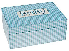 Keepsakes Box Darby Blue Fabric Baby