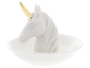 Ceramic Unicorn Ring Holder White With Gold Tone Trim
