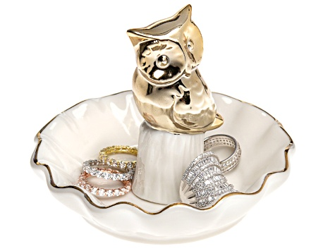 Ceramic Owl Ring Holder White With Gold Tone Trim